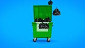 Récipients verts de déchets banque de vidéos