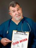 Réclamation médicale refusée Images stock