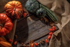 Récolte colorée d'automne des potirons et de la courgette dans un style rustique Potirons dans le hall d'entrée sur un vieux tabl images libres de droits