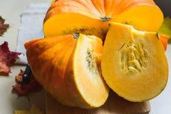 Récolte fraîche de potiron orange Images stock