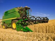 Récolte mécanisée une zone de blé Photographie stock