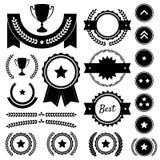 Récompense, concurrence, et positionnement luxuriant de silhouette Images stock