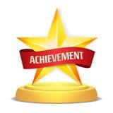 Récompense d'étoile d'or Ruban rouge avec l'endroit pour le texte Illustration de vecteur Trophée moderne, prix de défi Beau bril illustration libre de droits