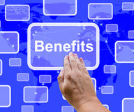 Récompense d'Benefits Button Showing Bonus Or Perks As Company Photo libre de droits