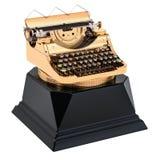 Récompense d'or de machine à écrire Le meilleur concept de publication ou d'auteur, 3D illustration stock