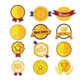 Récompense d'emblème de guirlande de laurier d'or Images stock