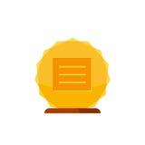 Récompense de gagnant d'or avec la base en bois d'isolement sur le fond blanc Icône de prix d'or Photo stock