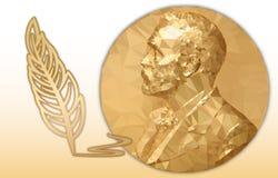Récompense de littérature Nobel, médaille polygonale d'or et symbole de crayon illustration de vecteur