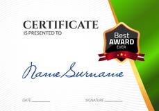Récompense de luxe de calibre de certificat Diplôme d'affaires de vecteur avec le timbre de joint Bon de cadeau ou accomplissemen illustration libre de droits