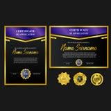 Récompense de luxe du certificat A4 d'ensemble avec la médaille d'or de goupille d'emblème avec le regard de luxe illustration libre de droits