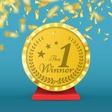 Récompense de trophée d'or du numéro un Signe de gagnant Illustration de vecteur illustration de vecteur