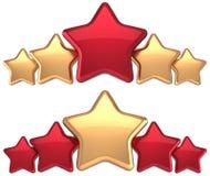 Récompense rouge de direction d'or de service de cinq étoiles Photographie stock