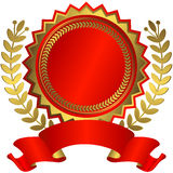 Récompense rouge et d'or avec la bande (vecteur) illustration de vecteur