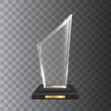 Récompense vide réaliste transparente de trophée en verre acrylique de vecteur Photo libre de droits