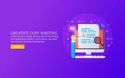 Rédaction publicitaire créative, écriture satisfaite, recherche, développement, surfaçant pour la production satisfaite de qualit image stock