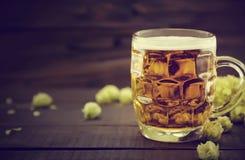 Rédigez la bière froide dans le pot en verre avec le houblon en cônes mûr vert sur le noir Image stock