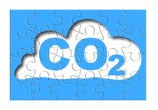 Réduction de présence de CO2 de l'atmosphère - puzzle denteux concentré photo stock
