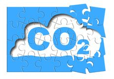Réduction de présence de CO2 de l'atmosphère - puzzle denteux concentré images stock