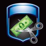 Réduction de prix bleue d'affichage Photographie stock