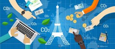 Réduction des émissions de carbone d'Accord de climat d'accord de Paris globale illustration de vecteur