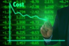 Réduction des coûts sur le mur courant vert Photo stock