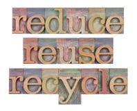 Réduisez, réutilisez et réutilisez - l'économie de ressource photographie stock