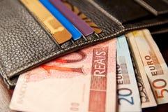 Réel brésilien, euro et dollars Images libres de droits