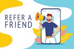 Référez-vous un concept d'illustration d'ami, cri de personnes sur le mégaphone avec pour se référer un mot d'ami, pouvez employe illustration stock
