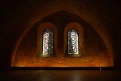 Réfectoire, abbaye de Fontfroide, France images libres de droits