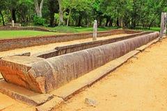 Réfectoire principal de monastère d'Abhayagiri, patrimoine mondial de l'UNESCO de Sri Lanka Photos stock