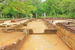 Réfectoire principal de monastère d'Abhayagiri, patrimoine mondial de l'UNESCO de Sri Lanka Images stock