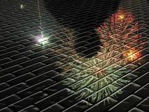 Réflexion abstraite de silhouette de feu d'artifice Image libre de droits