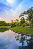 Réflexion d'arc-en-ciel dans l'étang Photographie stock