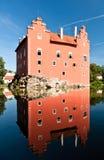 Réflexion de château de ?ervená Lhota Photo stock