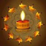Réflexion de diya de festival de Diwali sur le fond coloré artistique Image stock