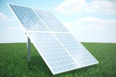 réflexion de l'illustration 3D des nuages sur les cellules photovoltaïques Panneaux solaires bleus sur l'herbe Alternative de con Photographie stock