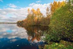 Réflexion de miroir des nuages blancs et des arbres jaunes dans le lac clair en automne Images libres de droits