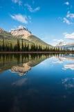 Réflexion de montagne dans le lac waterfowl Images libres de droits