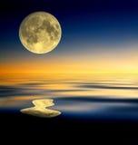Réflexion de pleine lune Photos libres de droits