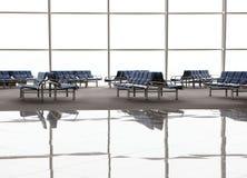Réflexion de salle d'attente avec les chaises bleues Photos stock