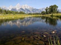 Réflexion de Teton à l'atterrissage de Schwabacher Image libre de droits