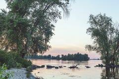 Réflexion des arbres dans le bel étang Photographie stock