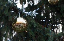 Réflexion des marchés de Noël sur le marché de chou à Brno dedans Photos libres de droits