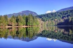 Réflexion des montagnes et de la forêt dans le lac alice image libre de droits
