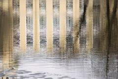 Réflexion du bâtiment dans des ondulations de l'eau Photo libre de droits