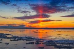 Réflexion du soleil sur la glace Images libres de droits