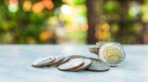 réflexion réelle d'argent de maison de patrimoine de concept Groupe d'élevage thaïlandais de pile de pièce de monnaie de bain Photos libres de droits