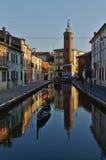 Réflexions dans des canaux de Comacchio Photos libres de droits