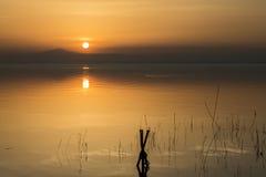 Réflexions de coucher du soleil sur le lac avec les poteaux en bois Photo stock