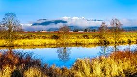 Réflexions de la surface douce de la rivière d'Alouette dans Pitt Polder à la ville de l'érable Ridge dans Fraser Valley des Angl Images stock